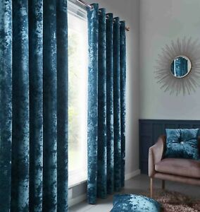 Catherine Lansfield Luxury Crushed Velvet Curtains Or Cushion Cover Teal