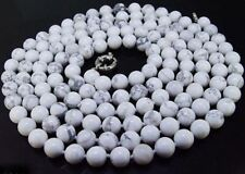 "Long 18-48"" Beautiful 10mm Natural White Howlite Turquoise Round Beads Necklace"
