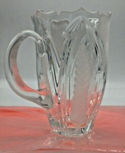 Hand Cut Violetta 24% Crystal Pitcher Frosted and Clear Exquisite Design Poland