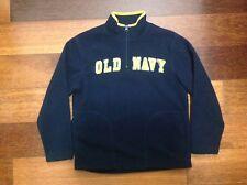 Boys Old Navy 1/4 Zip Up Fleece Pullover Sweater sz S 6/7 Dark Blue Yellow Trim
