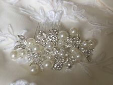 Small Ivory Pearl Diamante Hair Comb Bridal Wedding Vintage style Accessories