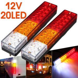 2X Trailer Rear Tail Lights 20 LED Truck Caravan Boat Indicator 12V