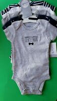 BOYS INFANT CARTER'S LAYETTE 5 PACK SIZE 3 MONTHS BODYSUITS SHORT SLEEVED NWT