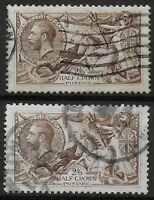 SG413a  1918 2s6d.Olive Brown - 2 Examples.  Good Used. Well Centred.   Ref 0489
