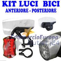 KIT LUCI BICICLETTA FARO E STOP A LED BIKE LIGHTS EXTRA LUCE