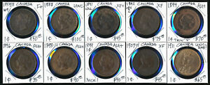 (1859-1911) TEN CANADA LARGE CENTS with CAT VALUE ~$600 USD > MUST SEE > NO RSRV