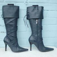 River Island Leather Boots Sz Uk 6 Eur 39 Womens Shoes Pull on Pirate Blue Boots