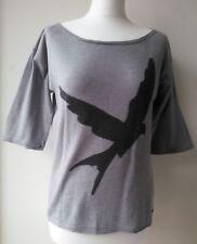 BONOBO JEANS JUMPER grey thin knit three-quarters sleeve bird graphic stretch UK