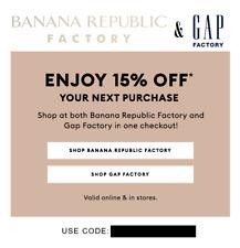 GAP FACTORY & BANANA REPUBLIC FACTORY 15% off code coupon Exp. 12/25/2020