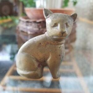 "Vintage Miniature Brass Cat Figurine India 2.25"""