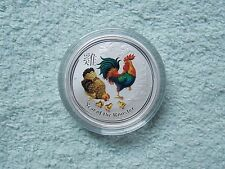 2017 Australian Silver Lunar Series II Colorized Rooster 1/2 oz (from roll)