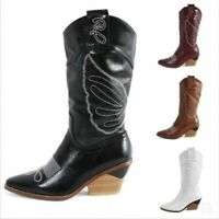 Womens Rock Cowboy Chunky Heel Casual Pointy Toe Shoes Motor Mid Calf Boots Hot