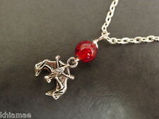 Halloween Vampire Bat Bead Necklace silver plated wiccan pagan jewellery goth