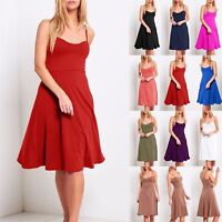 Ladies Womens Sleeveless Strappy Top Cami Flare Padded Mini Swing Skater Dress