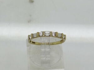 PETITE 14k Yellow Gold Round Emerald Cut DQ Cubic Zirconia 2.3mm Band Ring Sz 7
