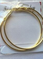 "18K REAL GOLD Filled Earrings 3"" HOOPS $300.  Perfect Classic GIFT JEWELRY Round"