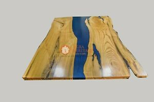 Epoxy Dining Corridor Table Acacia Handmade Blue Resin Live Edge Interior Arts