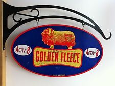 GOLDEN FLEECE LARGE DOUBLE SIDED OVAL SIGN ON HEAVY DUTY FLANGE HANGER
