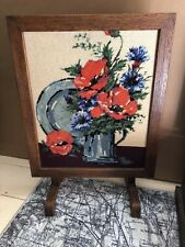 Vintage Oak Frame Tapestry Panel Hearth/fire Screen, Poppies