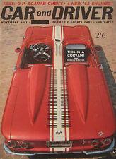 Car & Driver magazine 11/1961 featuring Mini Cooper road test, Morgan 4/4