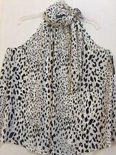 Womens INC Sahara Leopard Sleeveless Tie-Neck Halter Top Sz 14