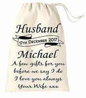 Personalised Wedding Day Gift Bag Favour Groom Husband Present Vintage Sack 2