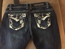 Rue 21 Premiere Jeans Insanely Embellished Fold over Back Pocket Low Rise Skinny
