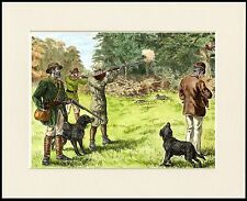 FLAT COATED RETRIEVER MEN SHOOTING GREAT VINTAGE STYLE DOG PRINT READY MOUNTED
