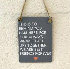 Grey Mini Metal Close best Friends Forever Love Friendship plaque Gift plaque