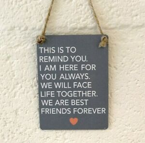 Grey Mini Metal Close best Friends Forever Love Friendship plaque Gift plaque
