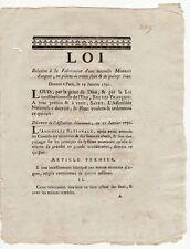 1791, Jan.19.  LOI Fabrication nouvelle Monnoie en pièces de 30 & 15 Sous