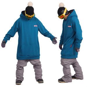 December long tall hoodie ski snowboard-basic blue