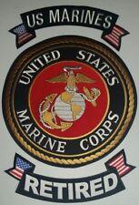 "USMC ""US MARINES RETIRED"" White/Gold 3 PC set  12 inch Round Patch W/ Rockers"