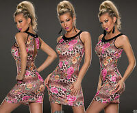 Sexy Women Clubbing Mini Dress Ladies Party Floral Blouse Girls Top Size 8 10 12