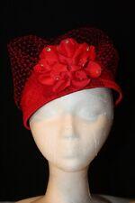 Women's Red Satin Pillbox Dress Hat