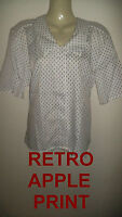 Ladies Office casual work retro cream apple blouse top Size 10 NEW vintage style
