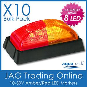 10 x 12V~24V 8-LED AMBER/RED MARKER LIGHTS/CLEARANCE LAMPS Truck/Trailer- BLACK