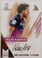2017 TLA Felise Kaufusi (Storm) Signature Series NRL Card # 30/50