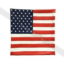 New Genuine Cowhide Soft Leather American USA Flag Cushion Cover Home Decore
