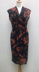 M&S Autograph Black Orange Floral Faux Wrap Stretch Dress - UK 10