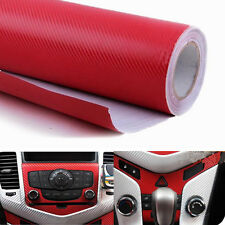 30*127cm Red 3D Carbon Fiber Vinyl Wrap Roll Film Decals Car Home DIY Wallpaper