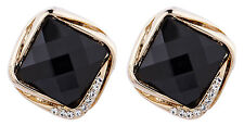 Clip On Earrings - gold plated vintage black stone & crystals stud - Betty B