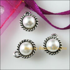 15 New Charms Tibetan Silver Tone Acrylic Round Pendants White 8.5x11mm