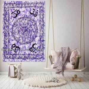 Indian Om Mandala Cotton Wall Hanging Yoga Mat Throw Tapestry Small Poster Decor
