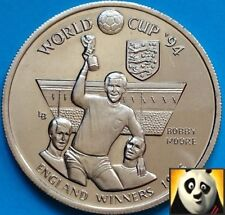 1994 TURKS AND CAICOS 5 Crowns World Cup England Winners 66 Bobby Moore Unc Coin