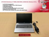 HP 250 G6 Notebook, i7-7500U 2.7GHz, 8GB DDR4, 512GB M.2 SSD, Windows 10 Pro