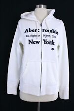 NWT Abercrombie And Fitch Women Logo Graphic Hoodie White Medium