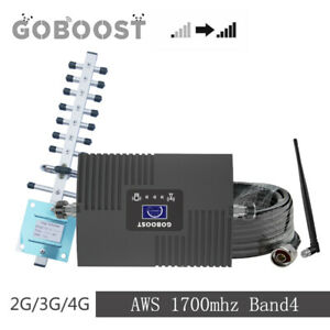 Goboost 3G 4G AWS 1700/2100mhz Band4 65db phone Signal repeater antenna kit home