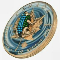2019 BEJEWELED FROG Colorized 1oz .9999 Silver Coin - Box & COA - 500 Pices