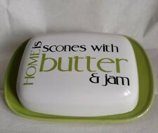 More details for the old pottery company butter dish in green and cream 18cm x 12cm  7 x 4.5inch